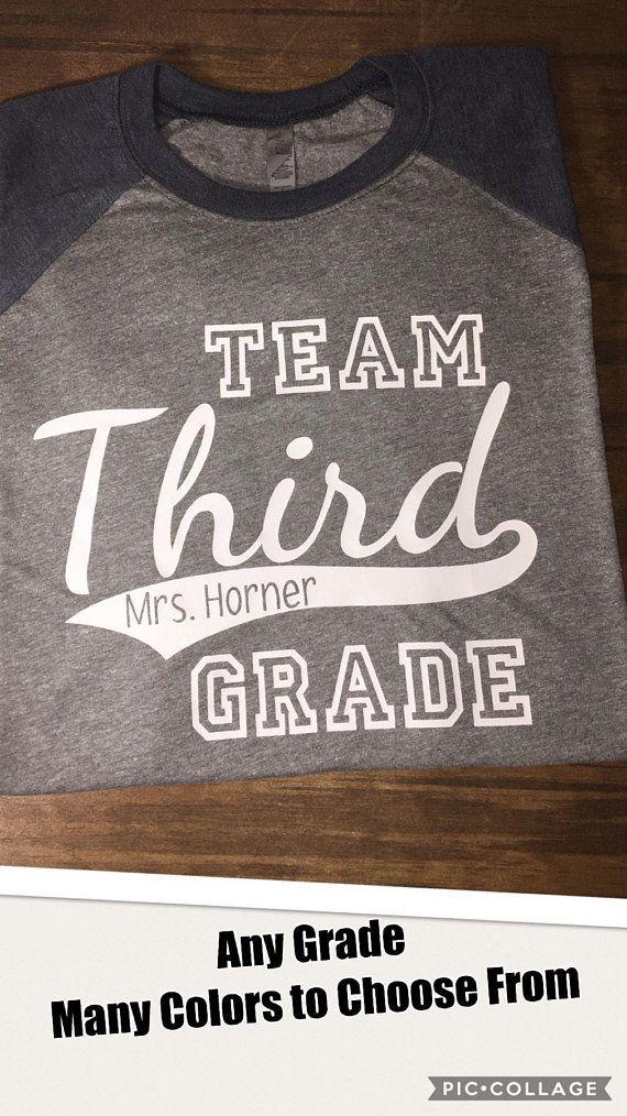 Team Grade Shirt/ Team Third Grade/ Personalized Teacher Shirt/ Unisex Baseball Shirt/ Back to School/ Field Trip/ Custom Raglan