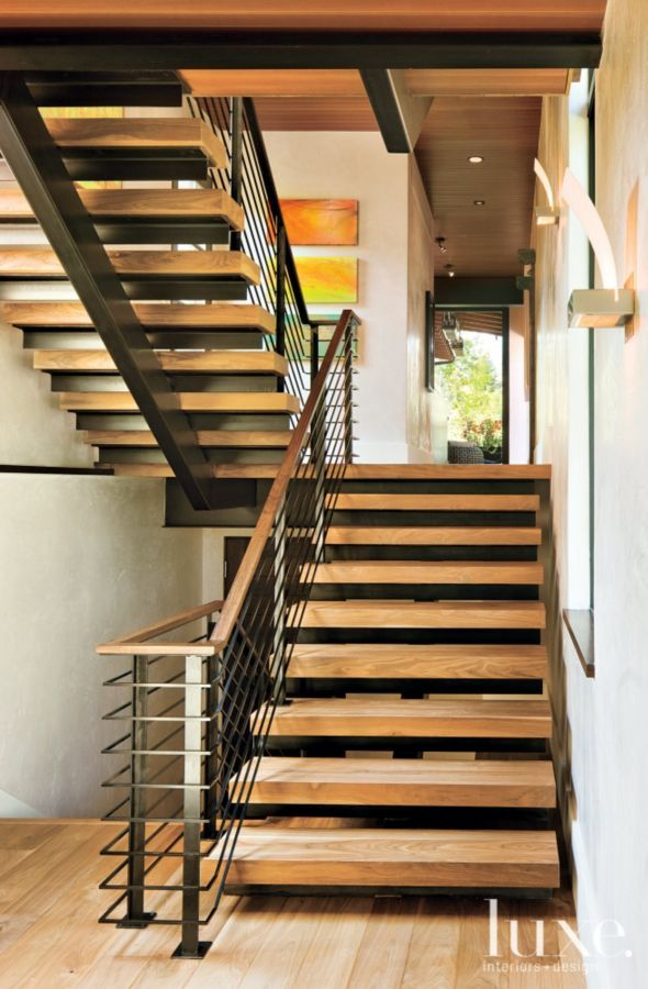 Best Contemporary Neutral Staircase With Walnut Treads Ranch House Designs 400 x 300