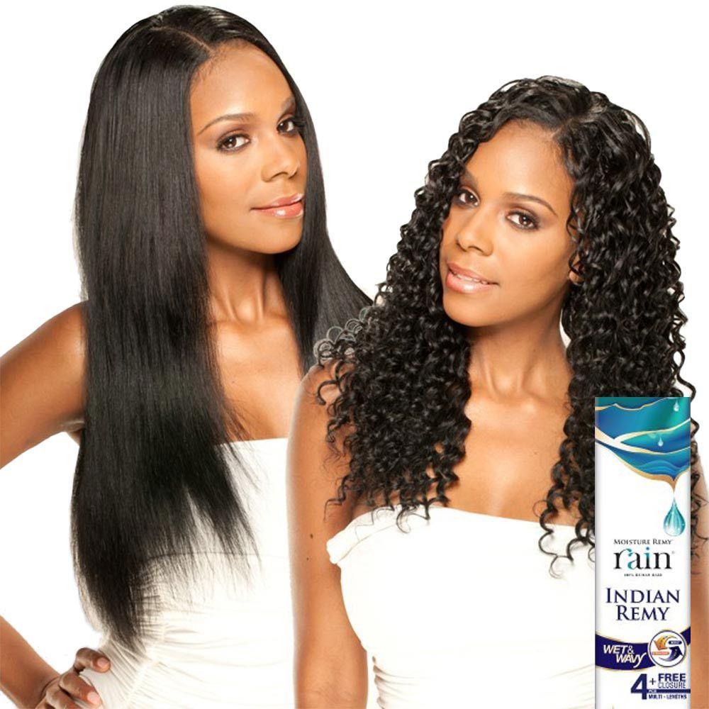 Moisture Remy Rain Indian Hair Weave Long Deep 4 Pcs Wet Wavy