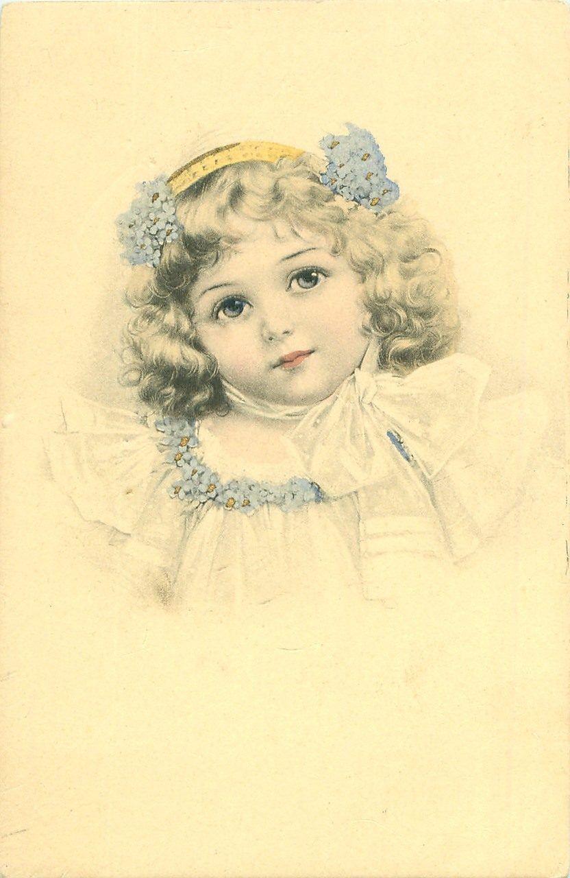 Девочка на старинной открытке, картинками