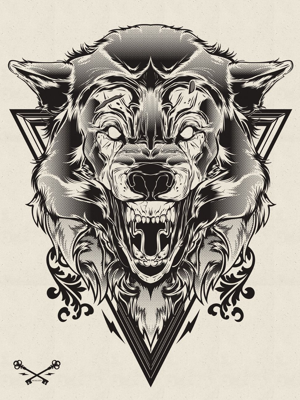 Halftone Print Series Wolf & Lion on Behance Wolf