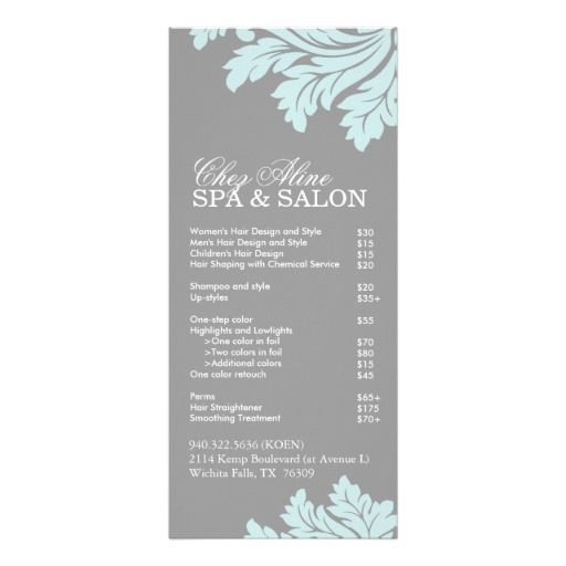 Salon and Spa Service Menu Spa services, Salons and Spa - sample spa menu template
