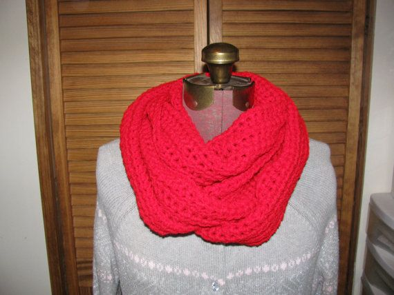 Red infinity cowl scarf on Etsy, $26.00