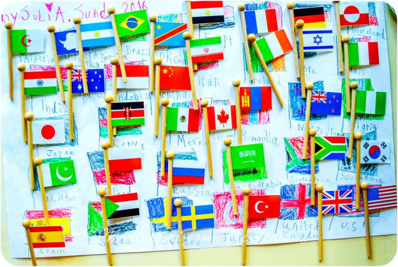 Flag day montessori early childhood educational materials flag day montessori early childhood educational materials geography flag stand world map gumiabroncs Images