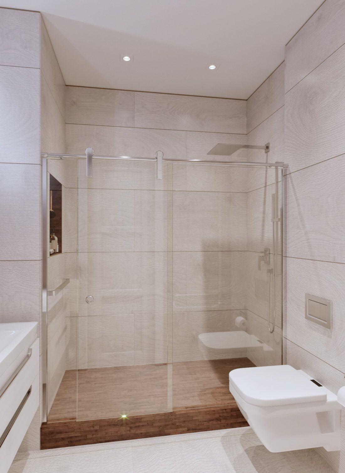 Душевая зона, стеклянная перегородка, дождевой душ ...