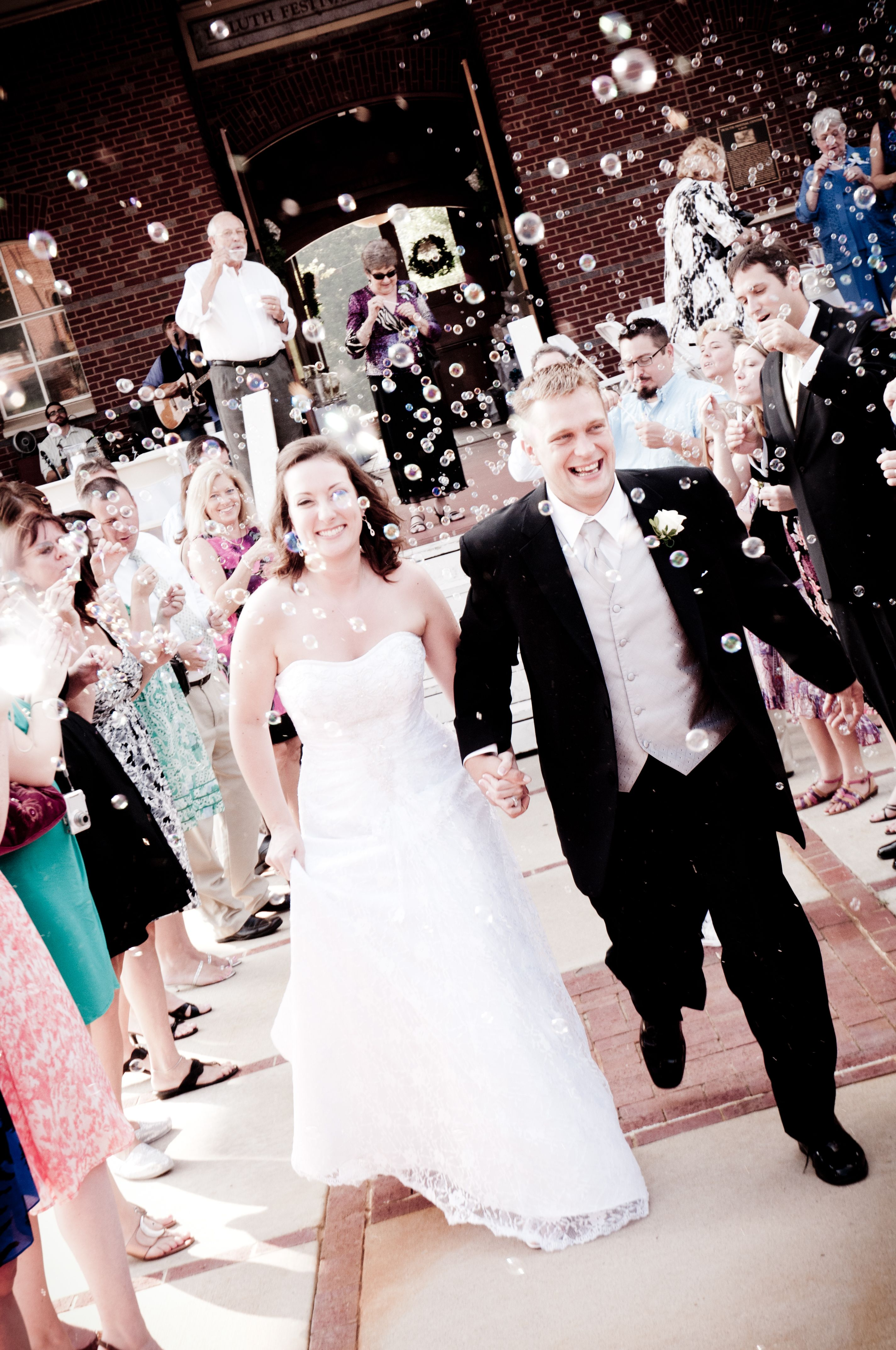 A send off with bubbles!! wedding newlyweds