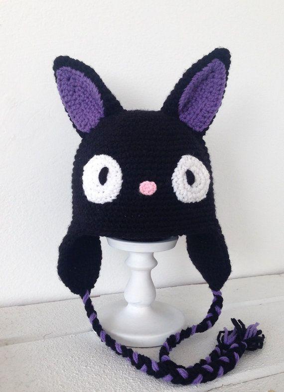 Jiji cat Hat (Inspired) Hand crochet, Kiki\'s delivery service | Las ...