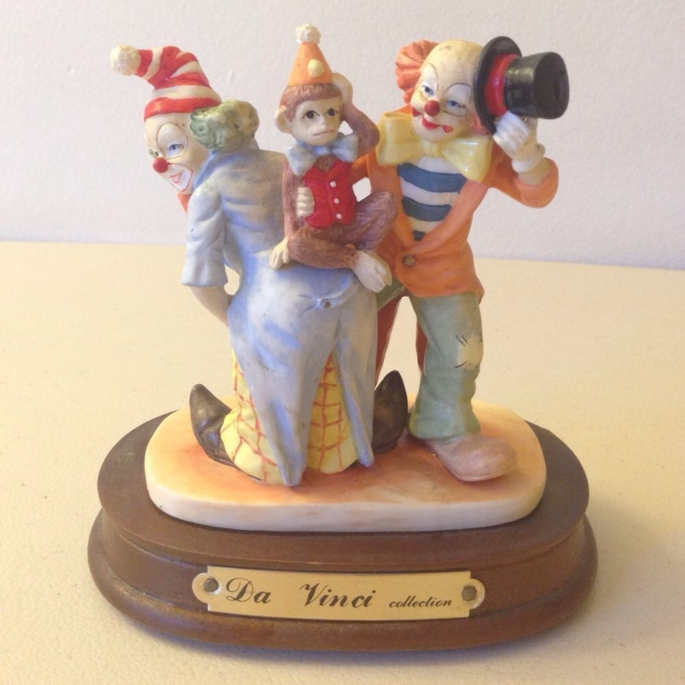 Da Vinci Collection Circus Clowns with Monkey Figurine | For