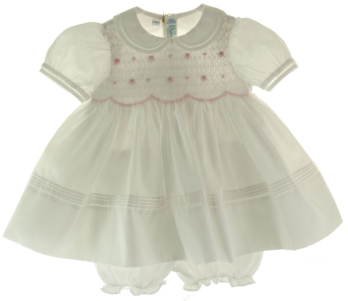 242d76aaf8d9e Feltman Brothers Infant Girls White & Pink Portrait dress with Collar and  smocked bodice comes with matching bloomers