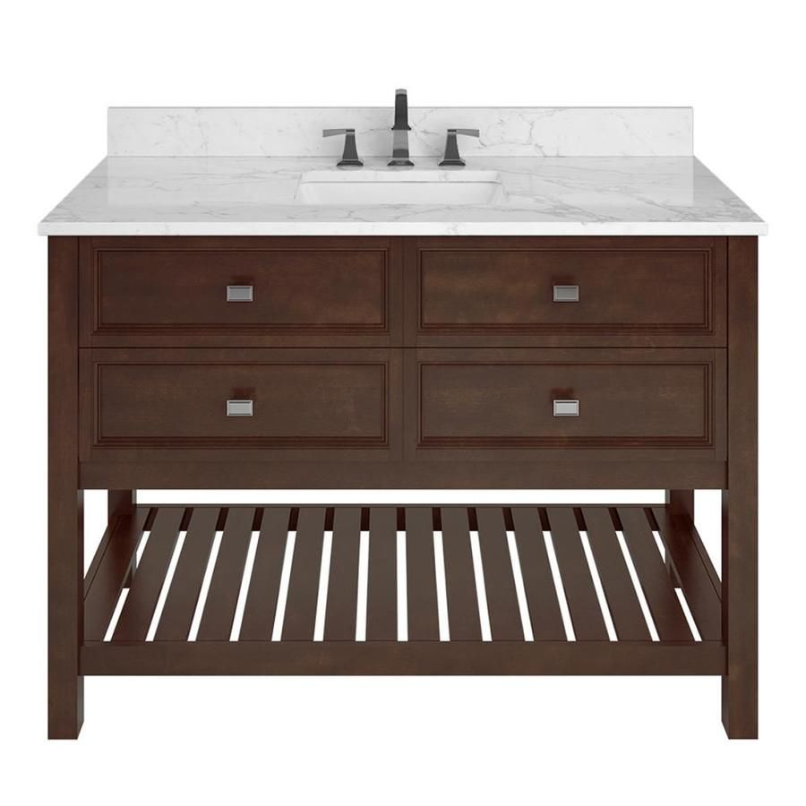 Scott Living Canterbury Mahogany Single Sink Vanity With Carrara