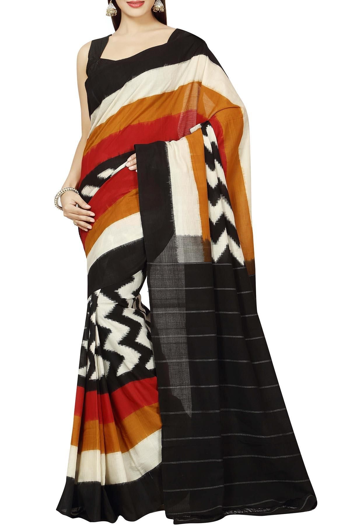 Black Ochre & Dark Red Zigzag Multi-Colored Cotton Ikat Saree