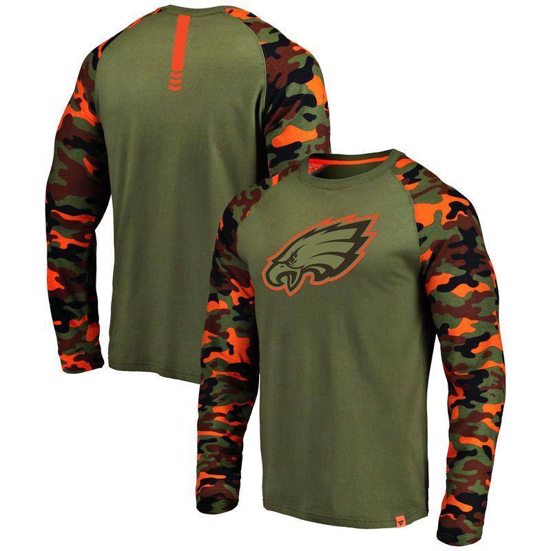 Philadelphia Eagles NFL Pro Line by Fanatics Branded Recon Raglan Long  Sleeve T-Shirt - Olive Camo 779d30b33