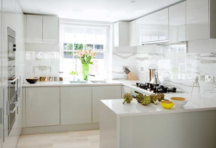 white modern kitchen | backsplash for stove