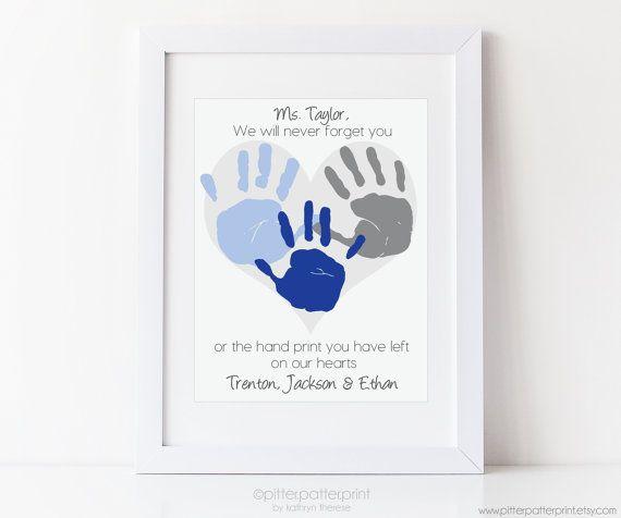 Gift for Teacher, Nanny, Daycare, Babysitter, Hand Print Heart ...