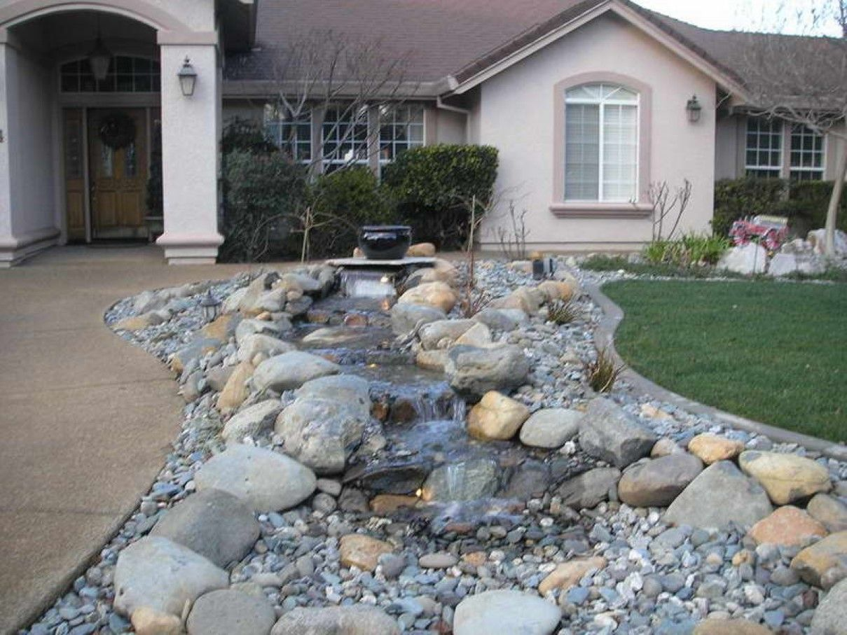 River Rocks To Your Home Design IdeasDIY Creative Ideas Front Yard LandscapingLandscaping