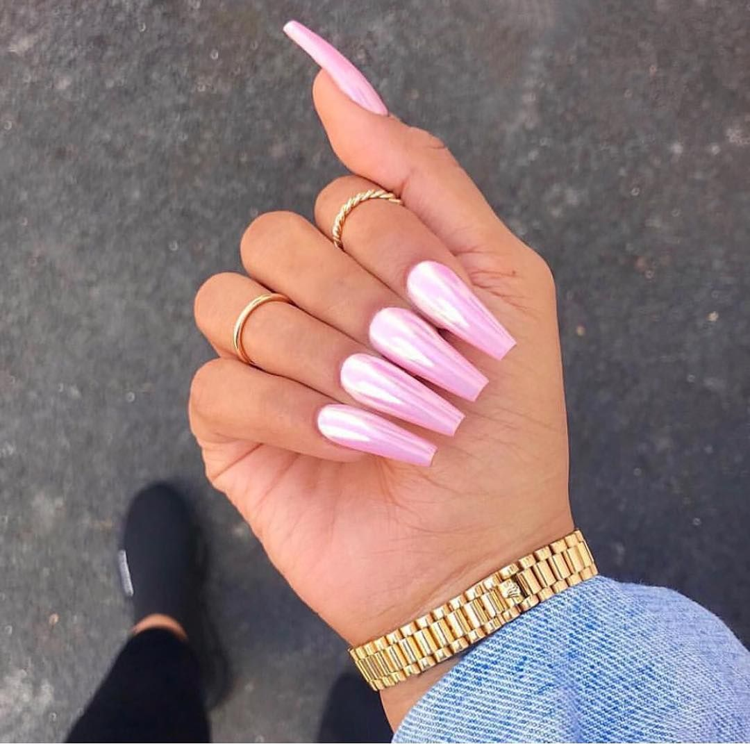 Gorgeous Glossy Baby Pink Coffin Nails Pink Acrylic Nails Coffin Nails Designs Ombre Nails Glitter
