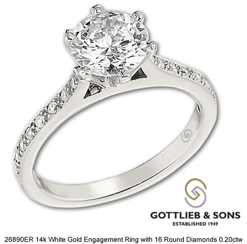 This Elegant 14k White Gold Engagement Ring features clean lines