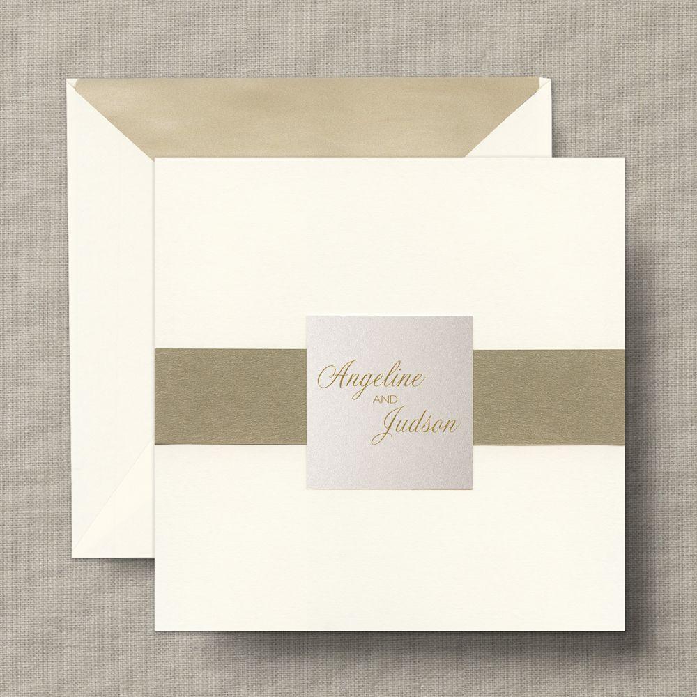 wedding stationery folders%0A William Arthur  Ecru Square Folder with Opal Shimmer Wedding Invitations