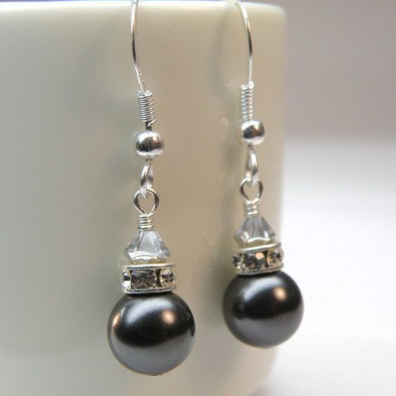 Black Pearl Earrings, Bridesmaid, Sterling Silver, Custom Wedding Jewelry, Christmas in July, Christmas in July, Christmas in July