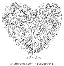 Vector illustration zentangl. A tree of love from flowers