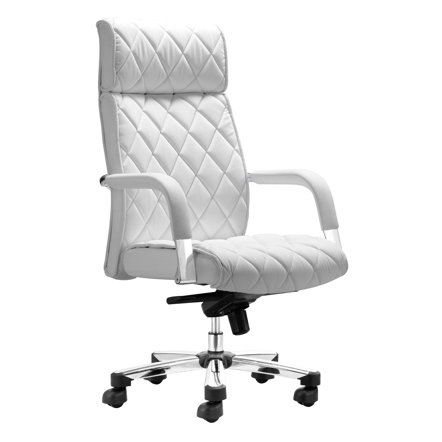 Regal White Office Chair #quilted  White leather office chair