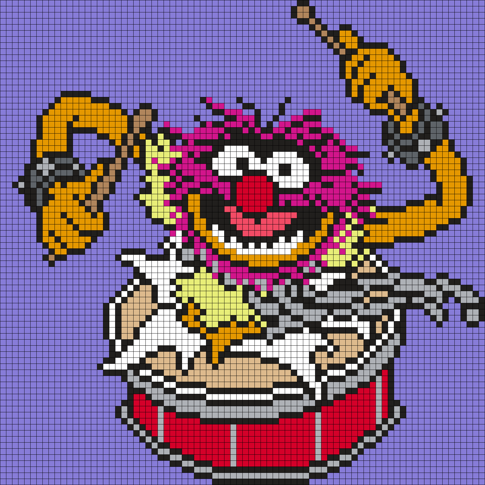"Animal ""DRUMS"" From The Muppets (Square Grid Pattern"