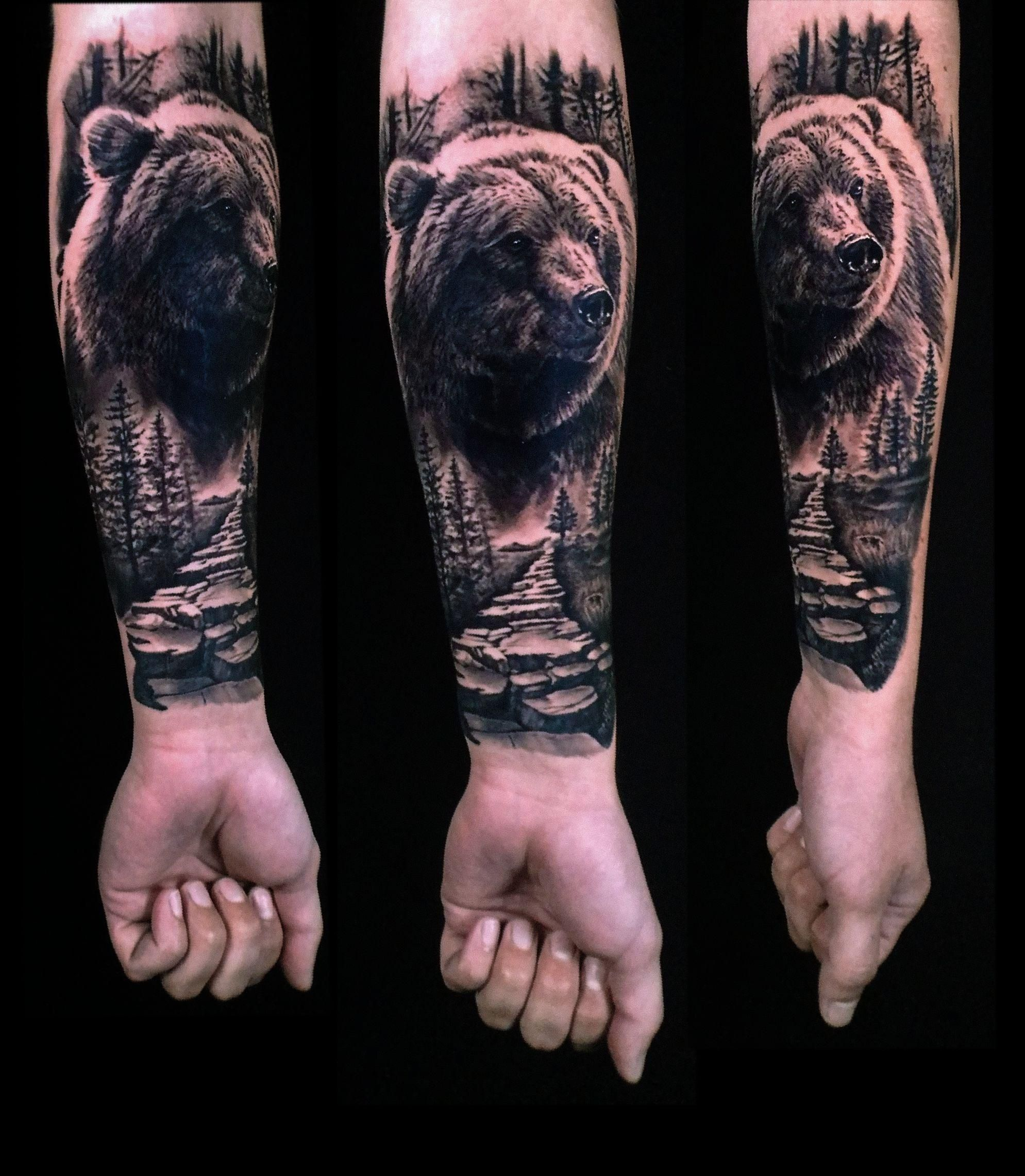 Photo of Grizzly Bear and Nature Scene by Shay Bredimus Outer Limits Tattoo Long Beach CA…