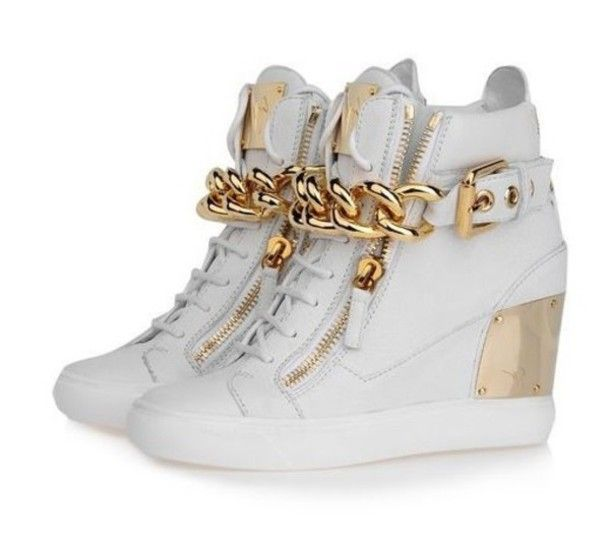 euro incl shipping 2013 New Arrival Women White Leather With Big Gold Chain  and Zip GZ Wedge Sneakers,Design Rubber Sole Winter High Top Shoes -in  Sneakers ...