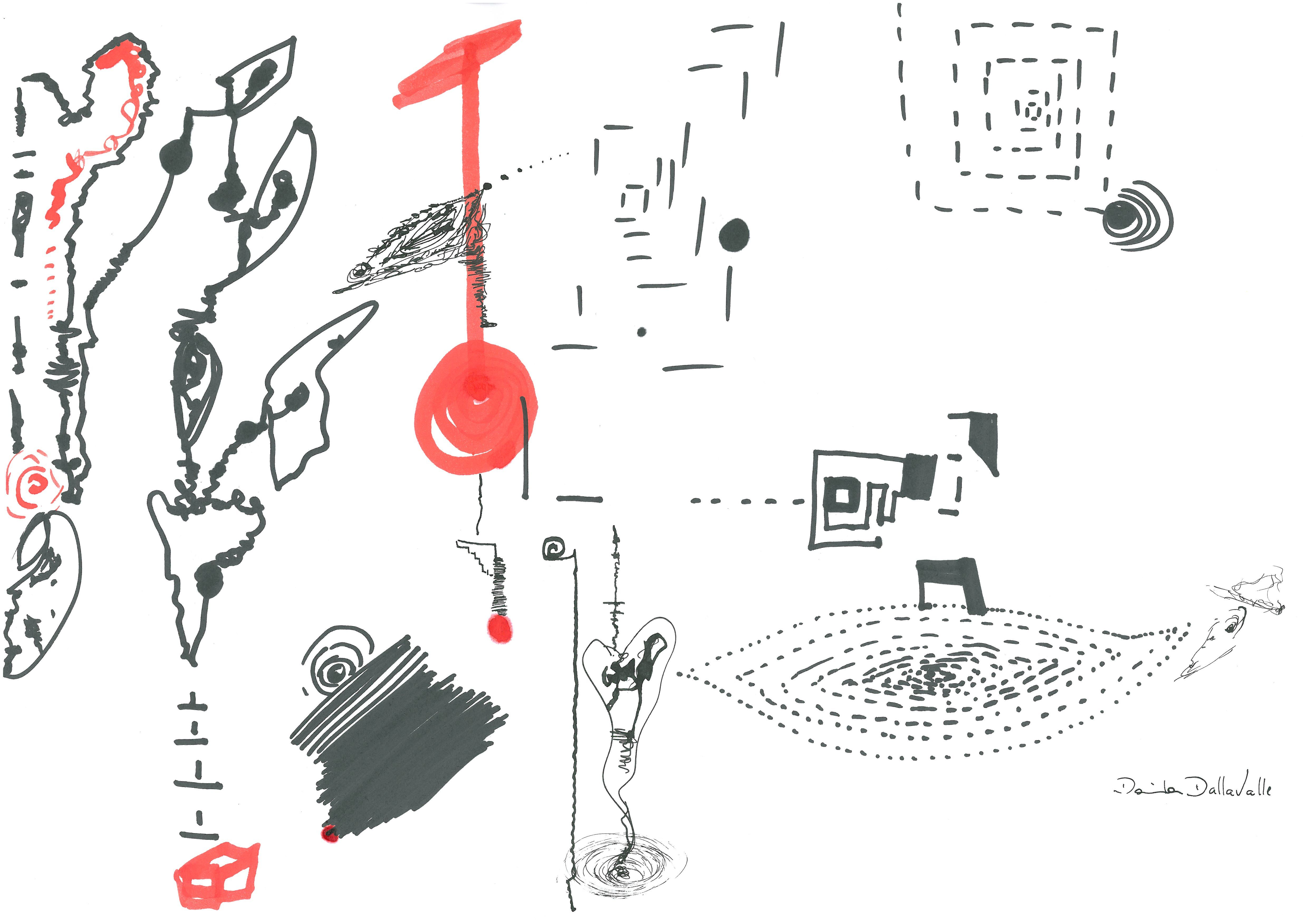 DARTGR1215041 #cube #abstract #paint  #Red #Black #White #Life #design #sketches #DanielaDallavalle #ink #art