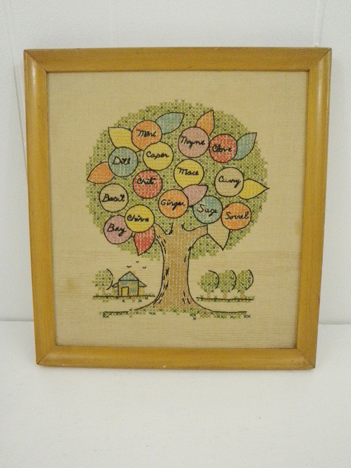 Vintage Kitchen Spices Herbs Tree Cross Stitch Embroidered Wall ...