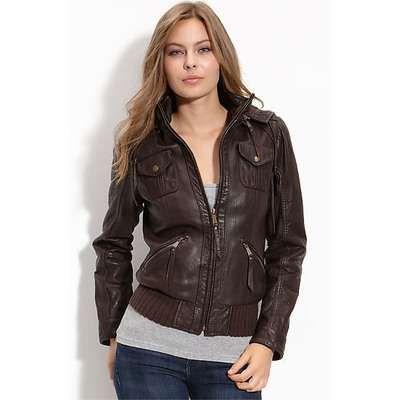 Handmade women brown hooded leather jacket by customdesignmaster, $169.99