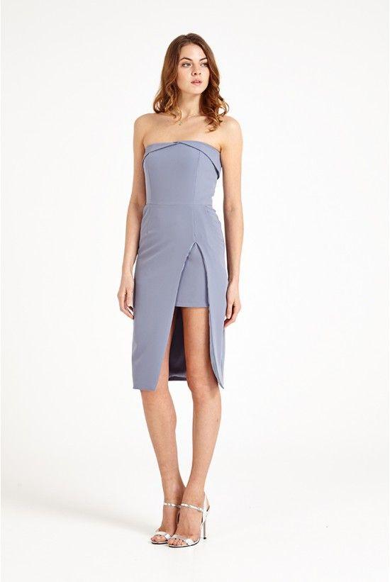 Womens Bandeau Thigh High Insert Split Midi Dres Dress Lavish Alice 3v8h2cHYu
