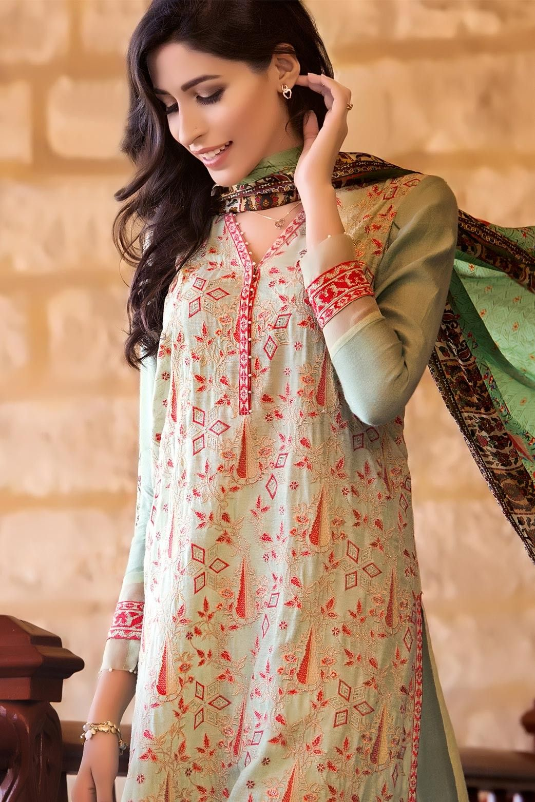 d306d4984e Classy 3 piece semi formally luxury luxe Zeen Cambridge Green Lily  Pakistani Dress Collection 2017 online shopping Unstitched Pret Wear  #wintercollection ...
