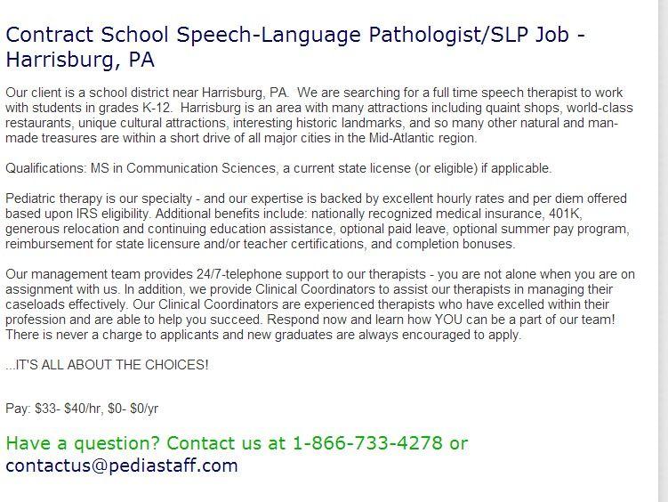 Contract School Speech Language Pathologist Slp Job Harrisburg