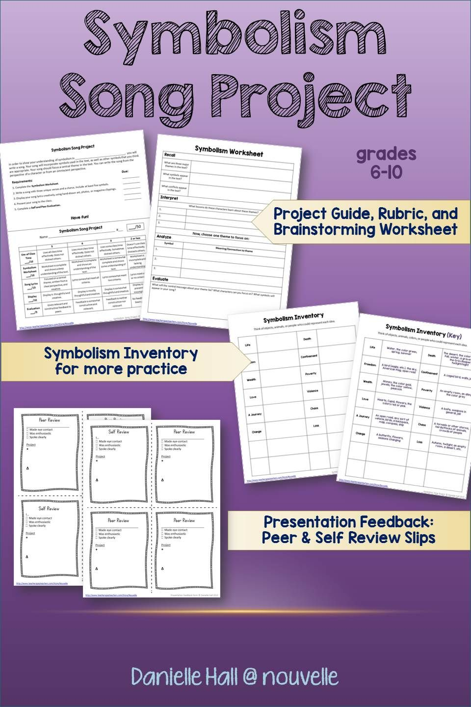 Worksheets Symbolism Worksheets symbolism song project free lessons priced the best of students practice by writing a includes worksheets feedback forms guidelines and rubric f