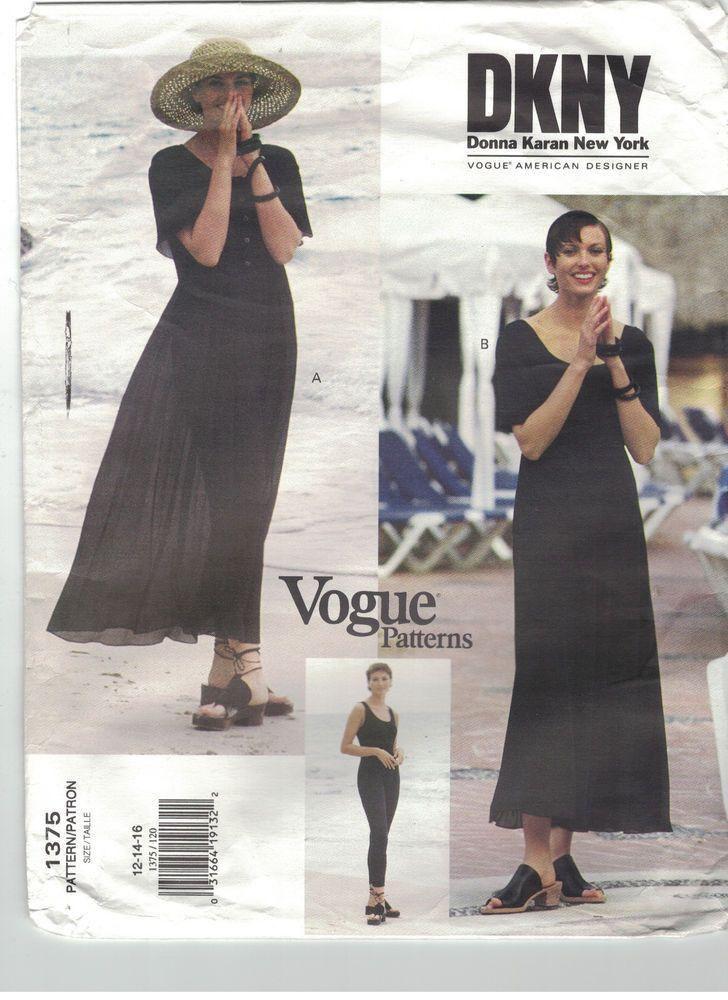 Vogue 1375 DKNY Donna Karan Size 12 14 16 Dress Unitard Pattern ...