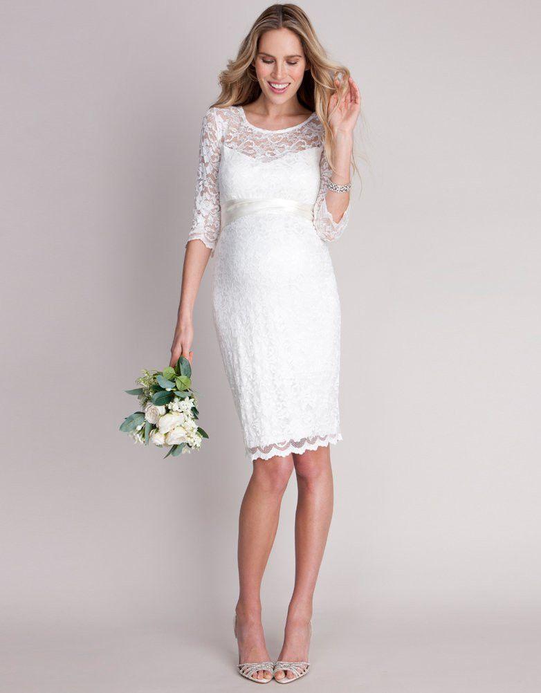 Seraphine Ivory Lace Maternity Cocktail Dress short wedding dress ...
