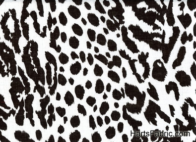 Cheetah Print Cotton Voile Fabric Black and Grey