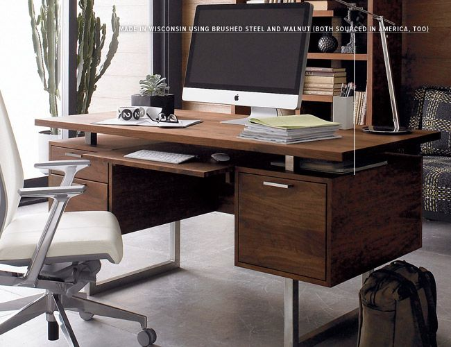 Wood White And Worked All Over 10 Modern Desks Home Office Design Masculine Home Offices Modern Home Office Desk