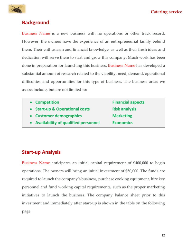 Catering Business Plan Template Sample Pages In 2019