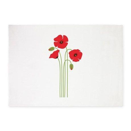 Poppy flower 5x7area rug mightylinksfo