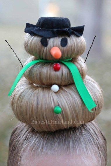Schneemann-Frisur für Crazy Hair Day (oder Weihnachten #crazyhairday