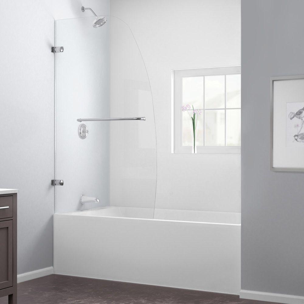 "Dreamline Aqua Uno 34"" Frameless Hinged Tub Door, Clear 1/4"" Glass Door & Reviews | Wayfair"