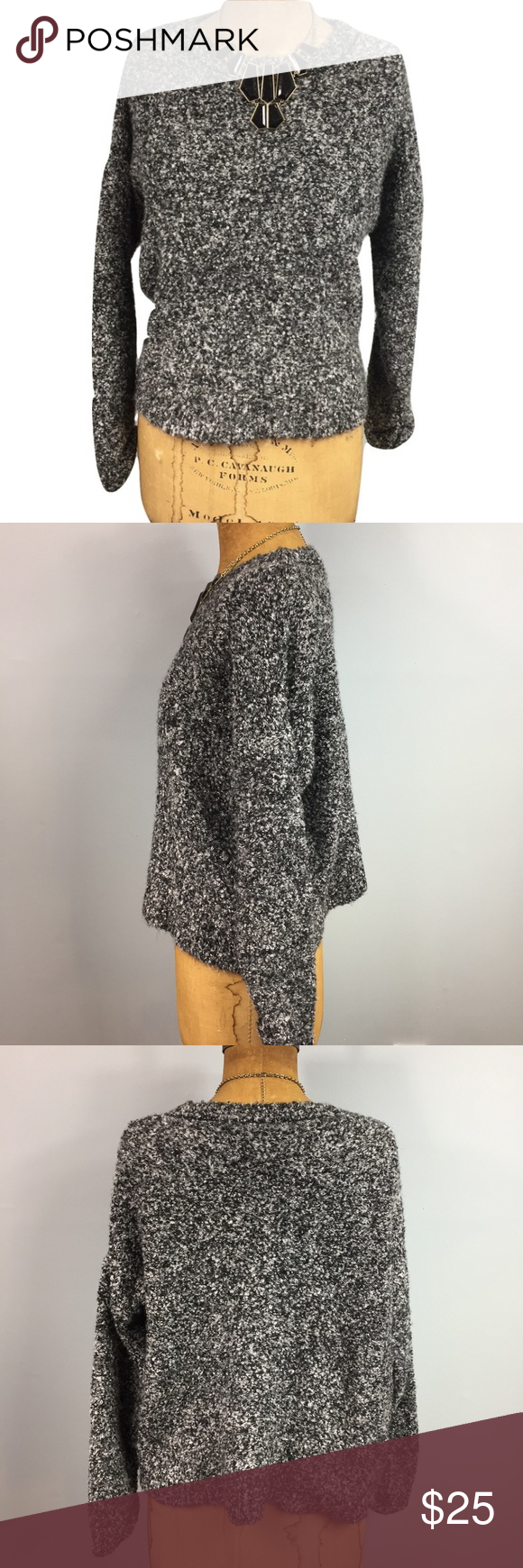 Sz 8 Topshop Sweater! Adorable sweater by Topshop. Very warm and fuzzy, perfect to pair with some high waisted skinny jeans or a skirt! Can easily be dressed up or down. 68% acrylic and 18% wool. Sz 8, sleeves are pinned up (pictured) Topshop Sweaters