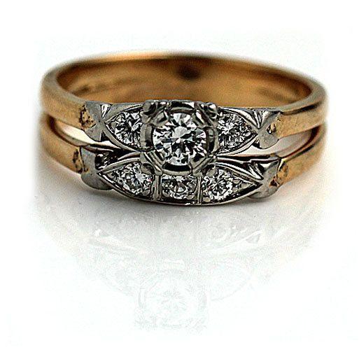 Vintage Diamond Wedding Ring Set 14k Two Tone Eternity 45ctw Size 8
