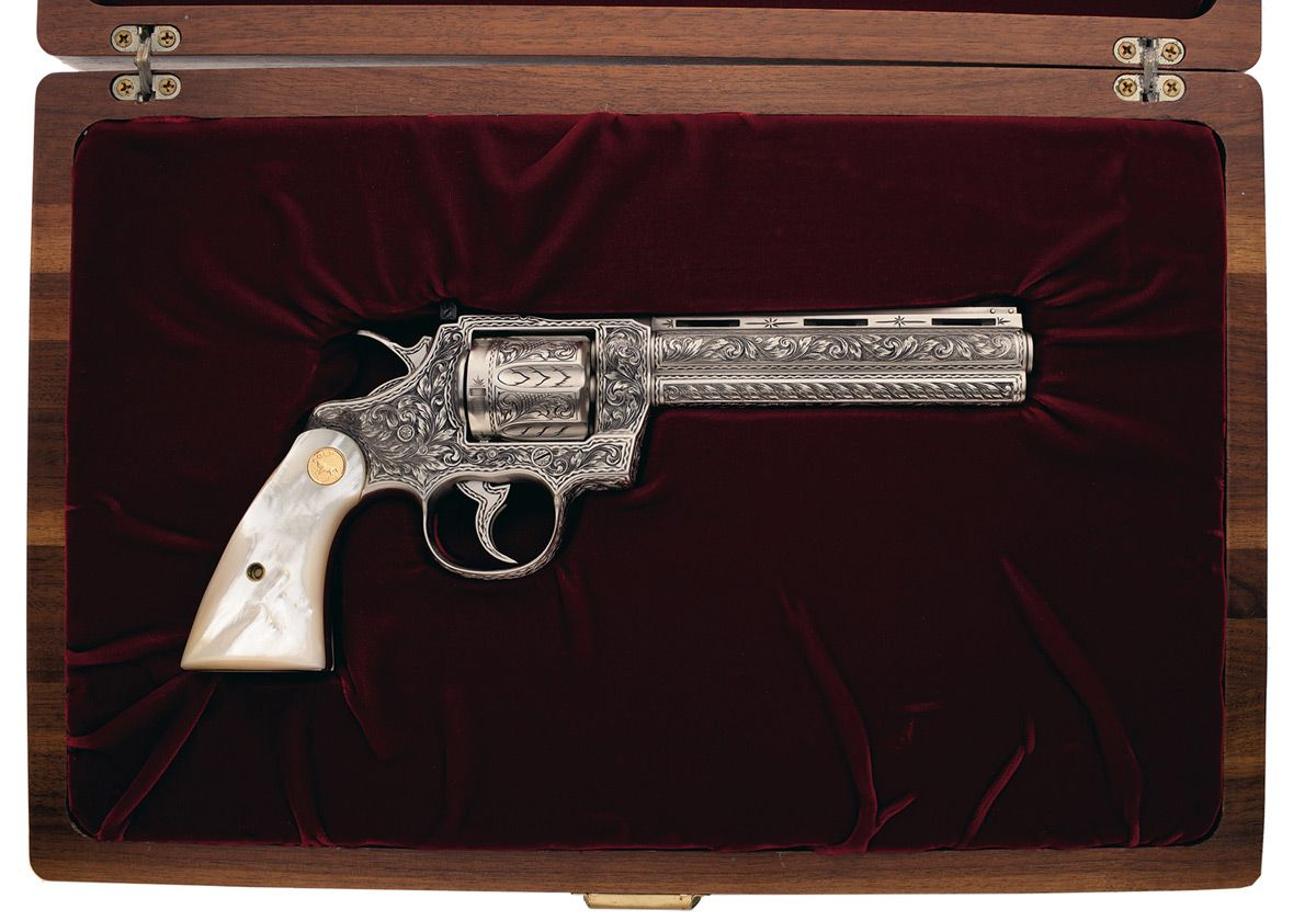 Cased Custom Engraved Colt Python Double Action Revolver with Pearl Grips  Thing of beauty!