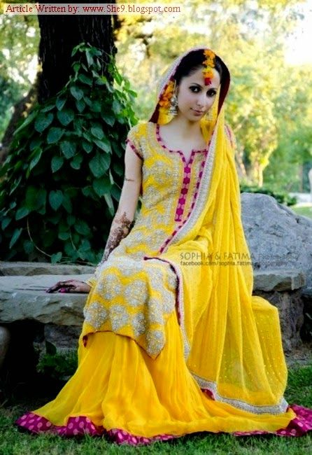 White Mehndi Outfits : Mehndi dresses yellow and green event suit