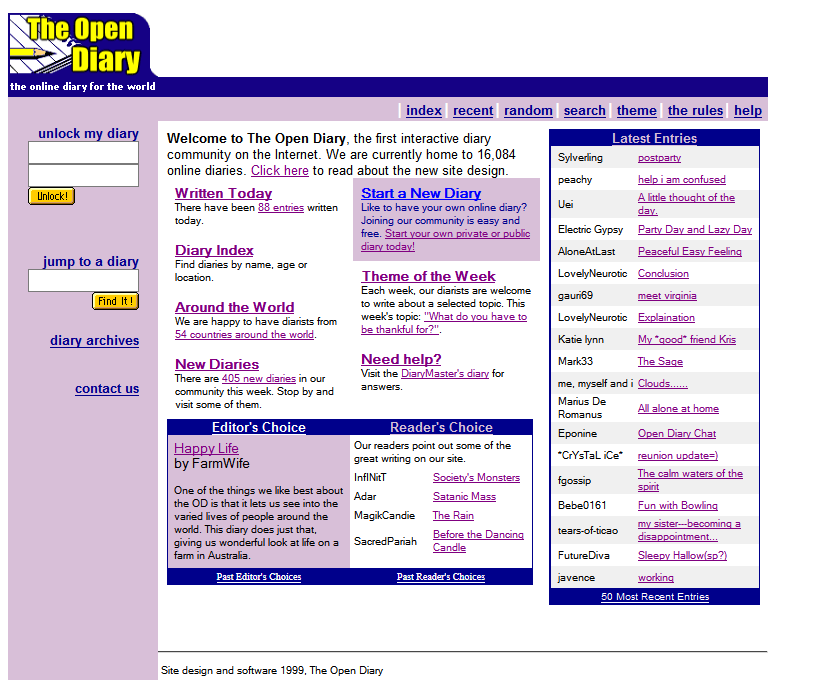 The Open Diary website in 1999 | Web design, Online diary, Design museum, evolution of social networking sites