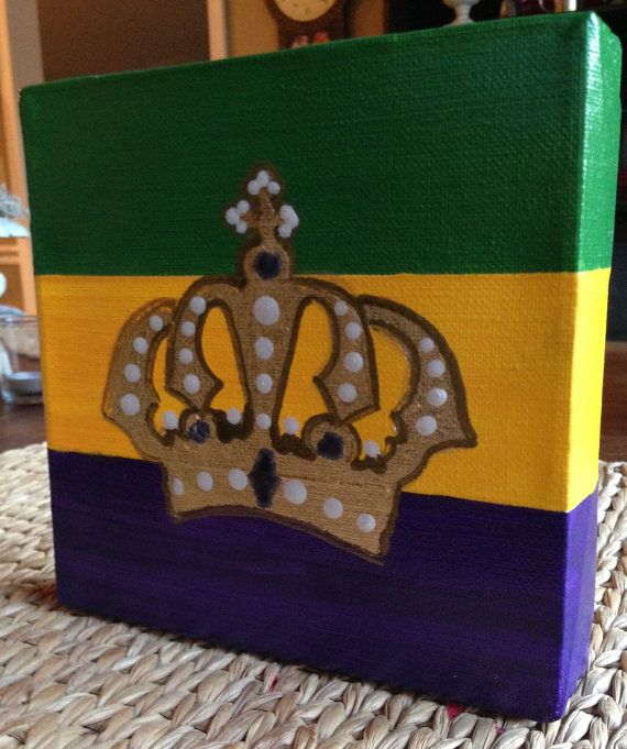 Mardi Gras King Crown On 6x6x1 Stretched Canvas Crown Painting Mardi Gras Unique Items Products