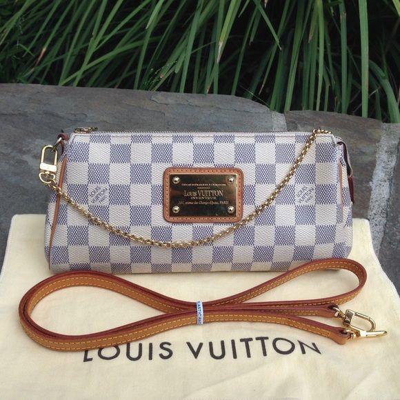 875dd411cd40 Louis Vuitton Damier Azur Eva  W DUST BAG   STRAP  For sale ...